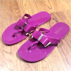 New! Michael Kors Fuschia Jelly Sandals with bow